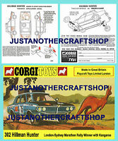 Corgi Toys 302 Hillman Hunter Rally Car Instruction Leaflet & Poster Sign