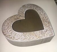 Shabby Chic Washed Carved Wood Heart Shaped Box Window NEW Trinket Jewellery