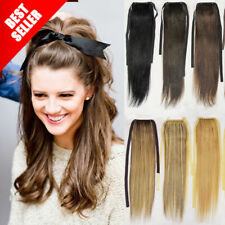 80gr Thick Real Human Hair Extensions Ponytail Drawstring Clip in Long Straight