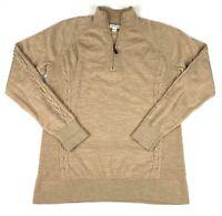 Orvis Women's 100% Merino Wool Tan 1/4 Zip Pullover Sweater Size Medium