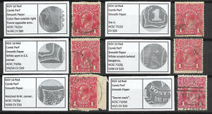 Australia KGV 1d Red Used + Listed Varieties x6 Stamps #6