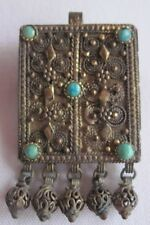 RARE Antique Brooch Pendant with Blue Stones