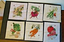 6 Completed Leisure Arts Picked Vegetables Cross Stitch Pieces.