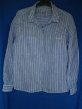 M&S Essential Collection Blue/White Striped Linen Long Sleeve Shirt Size 16