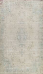 10x14 Antique Kirman Distressed Area Rug Muted Hand-knotted Wool Evenly Low Pile