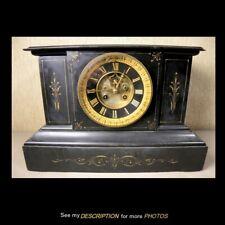 Antique Black Marble Slate Mantle Clock French S Marti Open Escapement
