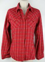 Columbia Womens Long Sleeve Button Front Plaid Shirt Sz Medium 100% Cotton EUC