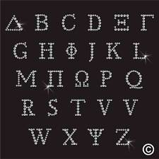 Greek Alphabet Letter Rhinestone Diamante Transfer Iron On Hotfix Motif Patch