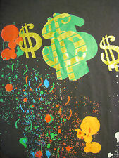 Plus Size 5XL black DOLLAR SIGNS AND ART SPLATTER t-shirt by THE LOOKS