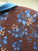 VTG 90S CAPACITY DENIM COLLAR LEAF FLORAL BROWN BLUE GRUNGE BLOUSE SHIRT WOMEN L