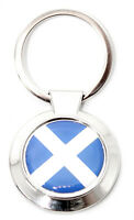 Scottish Round Blue St. Andrews Saltire Scotland Flag Keyring Charm