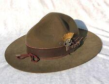 More details for vintage / antique boy scout baden powell lemon squeezer hat with plume - lot 1