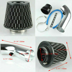 3 Inch Carbon Fiber Aluminum Pipe Turbo Piping Cold Air Intake Tube Filter Kit