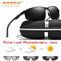 Aluminum Men's Polarized Photochromic Driving Sunglasses Chameleon Sport Glasses