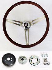 """1969-1993 Buick Skylark GS Wood Steering Wheel 15"""" Low Gloss Finish SS spokes"""
