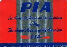 Vintage Airline Luggage Label PIA PERUVIAN INTERNATIONAL AIRWAYS foil