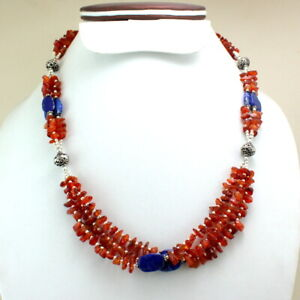 Necklace Natural Carnelian Lapis Lazuli Gemstone Handmade Beaded Jewelry