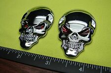 SKULL 3D METAL EMBLEM DECAL STICKER LOGO CHROME  METAL FOR CARS -SET OF TWO