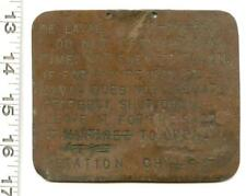 DE LAVAL COPPER REPAIR TAG RARE MARTINEZ CALIFORNIA STATION CHIEF EQUIPMENT '56