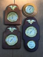 4 Mid-Century Cooper Rare Wall Barometer Thermometer Humidity Gauge Vintage