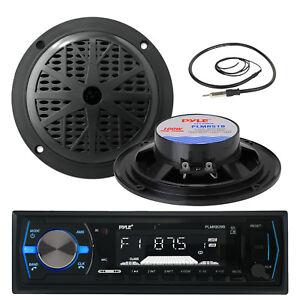 """Pyle Marine USB AUX Black Radio, Black 5.25"""" 100W Marine Speakers,Marine Antenna"""