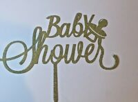 Cake Topper Glitter Baby Shower party cake Gold
