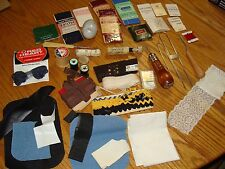 SEWING SUPPLIES MIXED LOT TOOLS NEEDLES THREAD PATCHES ETC - SEE PHOTOS