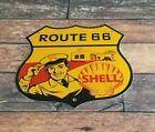 VINTAGE SHELL GASOLINE PORCELAIN HIGHWAY ROUTE 66 GAS SERVICE STATION PUMP SIGN