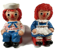 Vtg Raggedy Ann & Andy Large Plastic Coin Banks My Toy Co Bobbs Merrill Co Inc