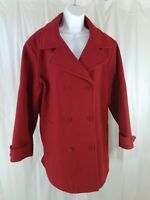 Eddie Bauer Navy Style Peacoat Jacket Womens 2XL Red Lined Wool Coat Superb