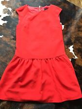 WOMEN MANGO RED PEPLUM FRILL DRESS SPRING OFFICE CASUAL SMALL