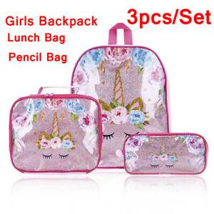 3pcs/Set Womens Girls Unicorn Backpack Lunch Bag Pencil Pen Bags Rucksack Gifts