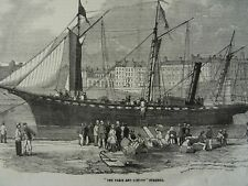 Shipping THE PARIS AND LONDON STEAMER - Victorian Print 1854
