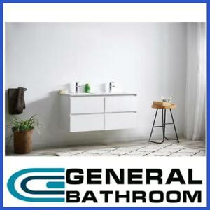 White 1200mm Wall Hung Vanity With Ceramic Basin