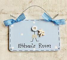 Personalised Little Boy Baby Nursery Bedroom Door Name Plaque Sign - Blue - New