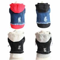 Pets Dog Clothes Blue Black jean Jacket Puppy Dog Cat Hoodie Denim Vest Apparels