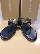 "NEW MICHAEL Michael Kors Wm's Sz  7M ""MK Plate Flat Thong Sandals"" Navy Leather"