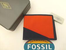 FOSSIL Compact Wallet OWEN Navy Orange Canvas Leather Slim Card Wallet BNWT