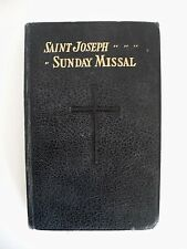 Vintage Catholic Saint Joseph Sunday Missal  Black Hardcover 1957