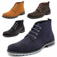 MENS FAUX SUEDE CASUAL LACE UP FASHION BOOTS ANKLE DESERT TRAINERS BROGUE SHOES
