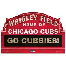 "CHICAGO CUBS WRIGLEY FIELD GO CUBBIES WOOD SIGN 11""x17"" BRAND NEW WINCRAFT"