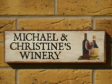 PERSONALISED WINE SIGN BOTTLE OF WINE DRINKING AREA HOME BREWING WINE MAKING ALE