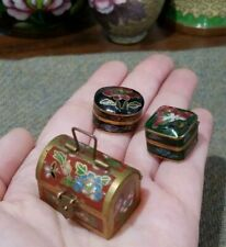 3 Vintage Cloisonne Trinket Boxes -Tiny Treasure Chest Pill Boxes, hinged