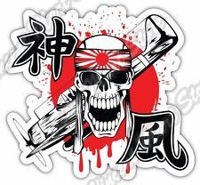 "Kamikaze Skull Hachimaki Sword Samurai Pilot Car Bumper Vinyl Sticker Decal 4.6"""