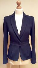 REISS BLACK PINSTRIPE ASPEN  JACKET SIZE 10 WOOL MIX BUTTON