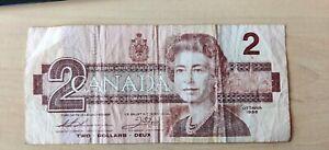 2 dollars Canada bank note 1986 used serial number BUN8965244