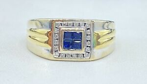 .50 ct NATURAL DIAMOND & sapphire mens pinky ring SOLID 14K white GOLD
