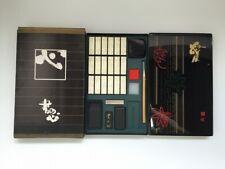 Japanese Calligraphy Tool Set Vtg Storage Case Ink Stone Stick Brush Stamp T197