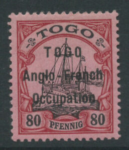 TOGO SGH9 80pf on rose opt TOGO Anglo-French Occ very very lightly m/m cat £275