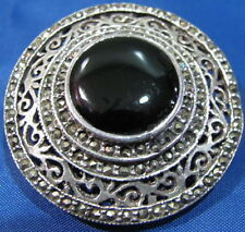 Vintage Sterling .925 Antique Black Onyx & Marcasite Round Brooch, USC#261